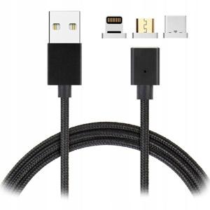 KABEL MAGNETYCZNY 3w1 NYLON IPHONE USB-C MICRO USB