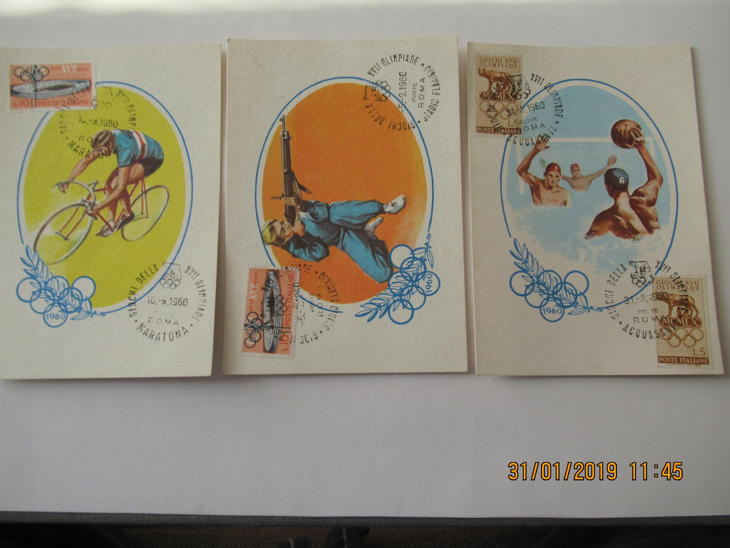 KARTKI POCZTOWE Z OLIMPIADY W RZYMIE 1960 oryginał