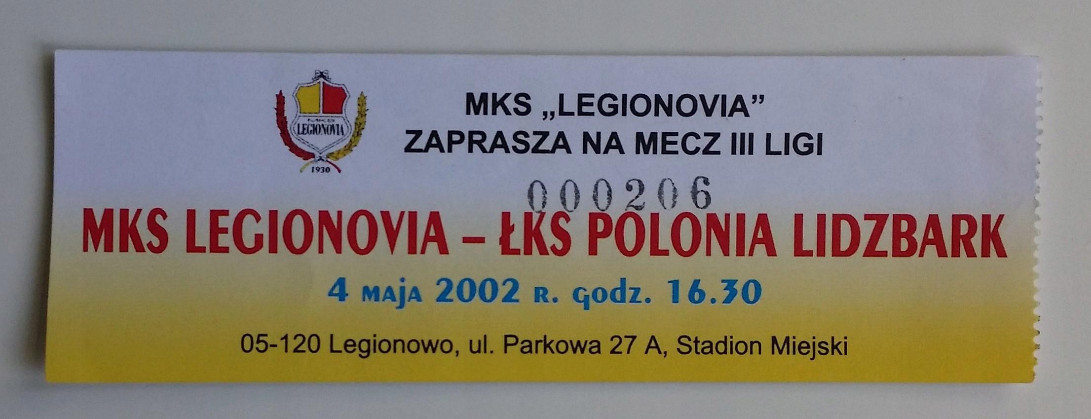 Bilet Legionovia - Polonia Lidzbark 04.05.2002