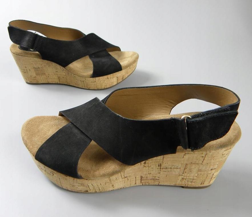 CLARKS skórzane sandały czółenka KOTURN 39