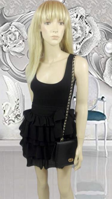 H&M czarna sukienka rozkloszowana falbany XS