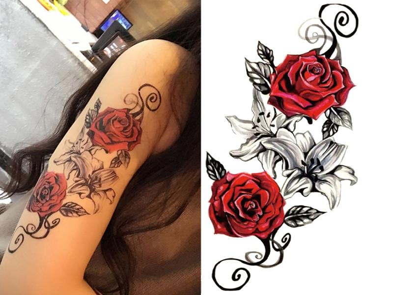 Tatuaż Damski Zmywalny Henna Tymczasowy Róże 7566023081