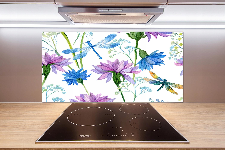 Panel do kuchni Kwiaty i ważki 100x50 cm + KLEJ