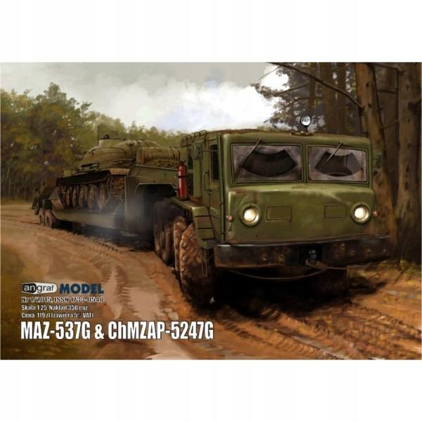 MAZ-537G z naczepą do transportu czołgów, Angraf