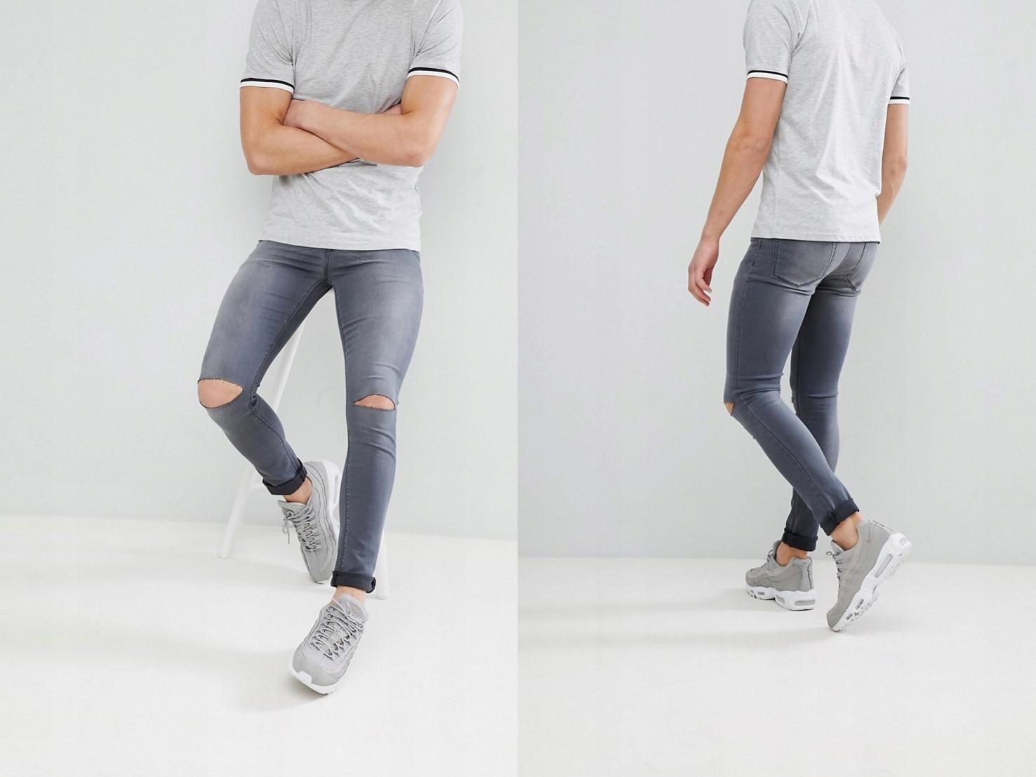 Spodnie Męskie z rozcięciami na kolanach W26 L30