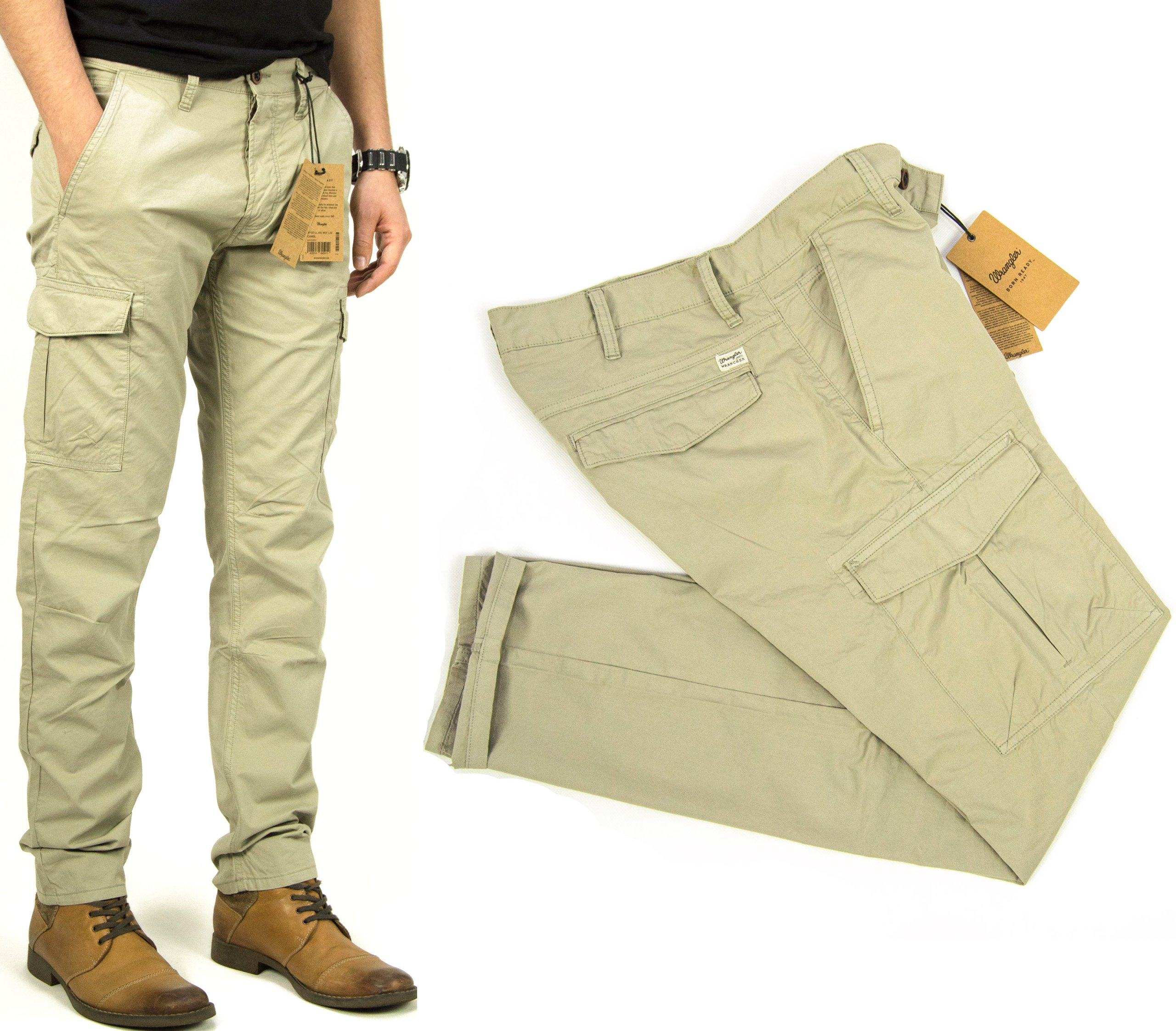 Wrangler Cargo Pants Camel spodnie W28 L32 bojówki