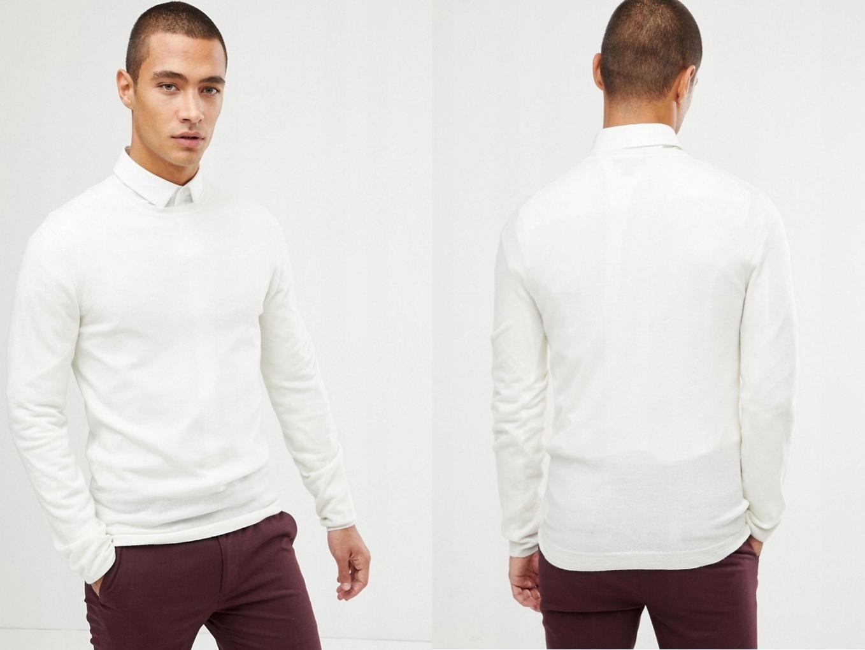 DESIGN Sweter z białej wełny z merynosów S/36