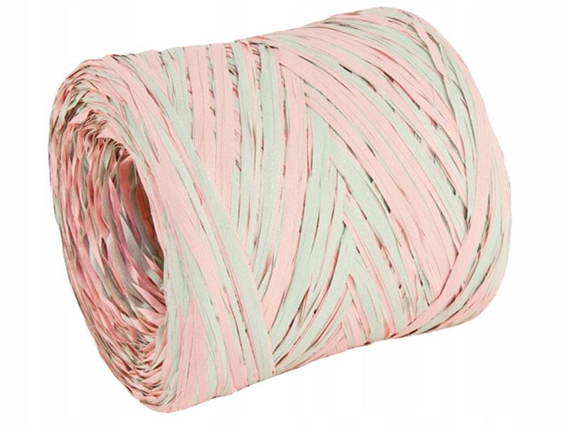 Rafia sznurek wstążka 5m różowo-miętowa