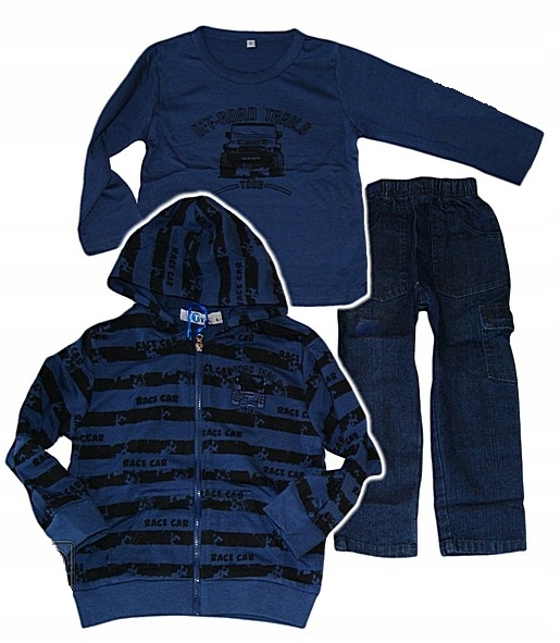 Bawełniany 3cz Komplet DRESY Jeans Bluza 104