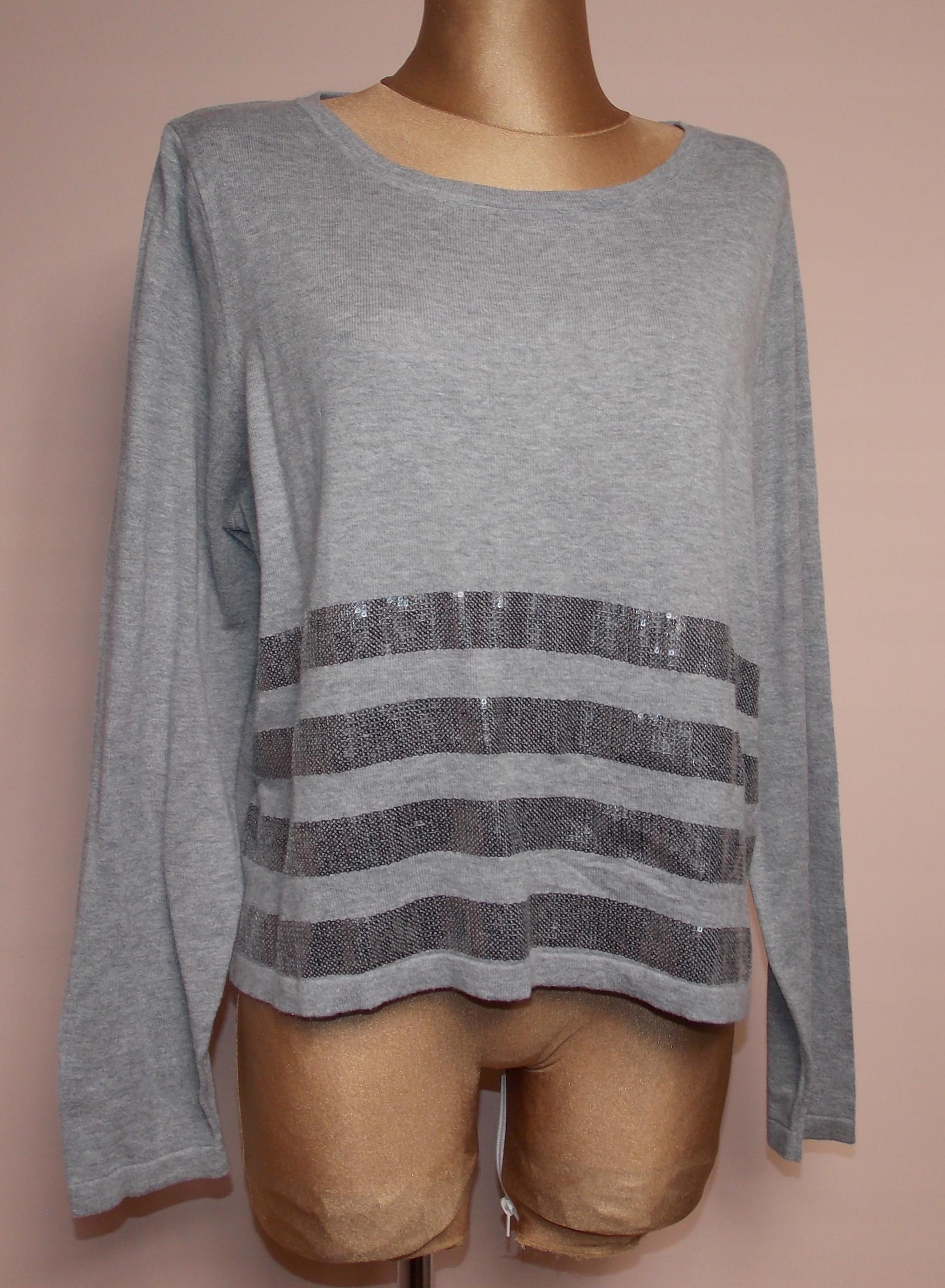 sweter bluzka NEXT szary cekiny elegancki biuro 44