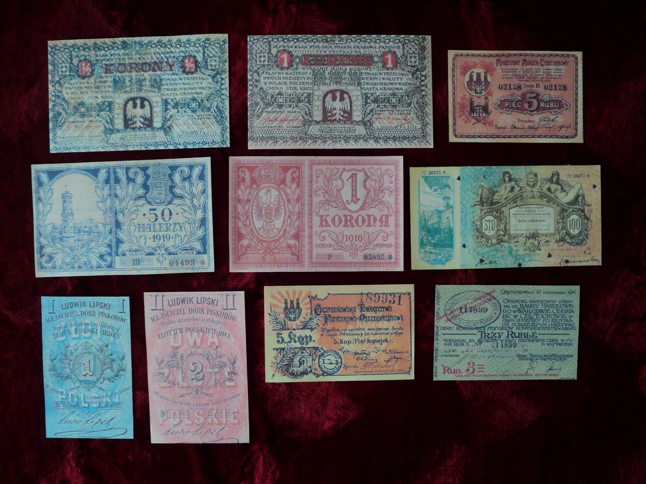 zestaw 10 banknotów
