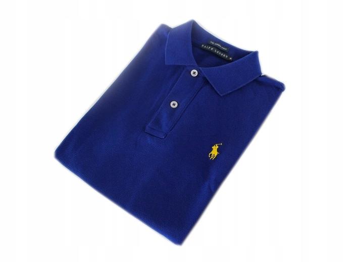 RALPH LAUREN koszulka Skinny POLO niebieska r. M