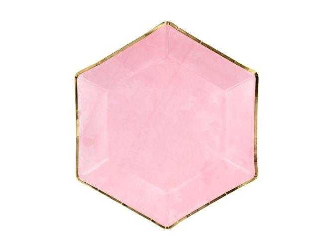 Talerzyki papierowe jasnoróżowe złota ramka 23cm