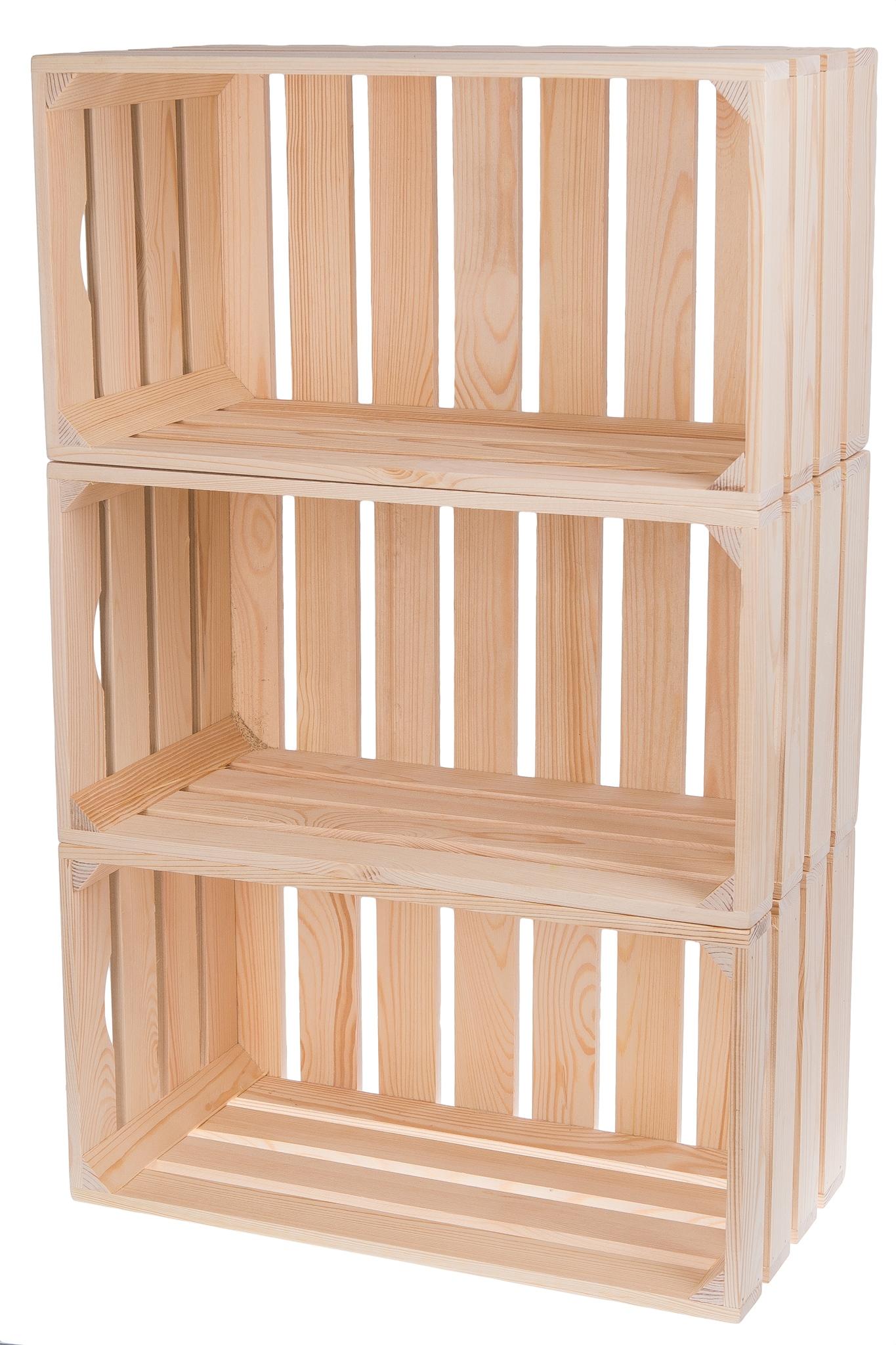 Półka Regał Skrzynki Drewniane 3 Szt Skrzynka Eko