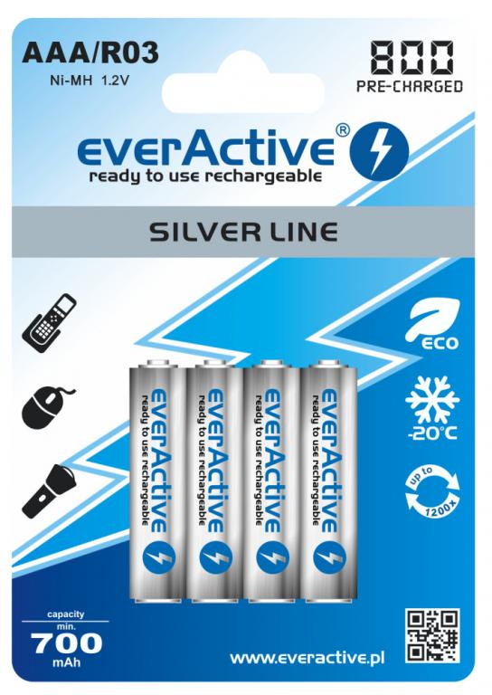 4 X EVERACTIVE R03 AAA 800mAh ready to use