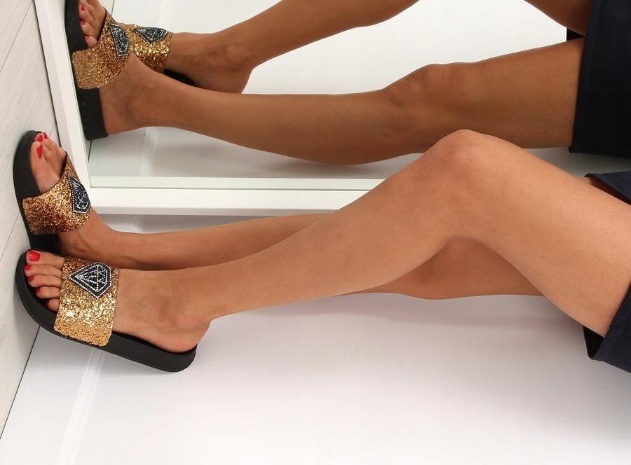 Klapki diamond glossy złote S49 jakość ciepłe