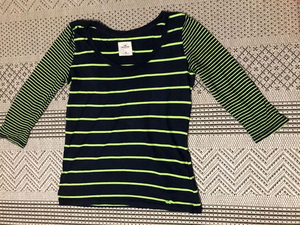 Hollister bluzka t shirt wiosnay blog paski neon m