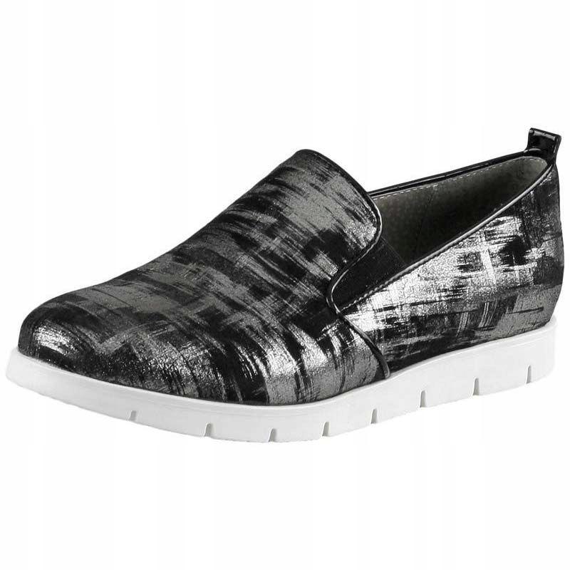 Czarne Półbuty Wsuwane Nessi 41405 buty R.38