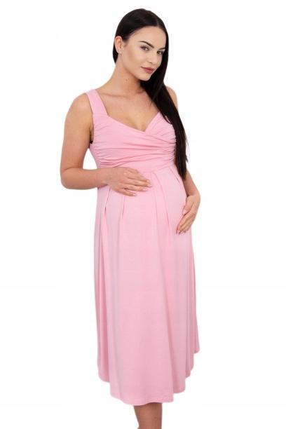 Pudrowo różowa ciążowa sukienka pastelowa na lato