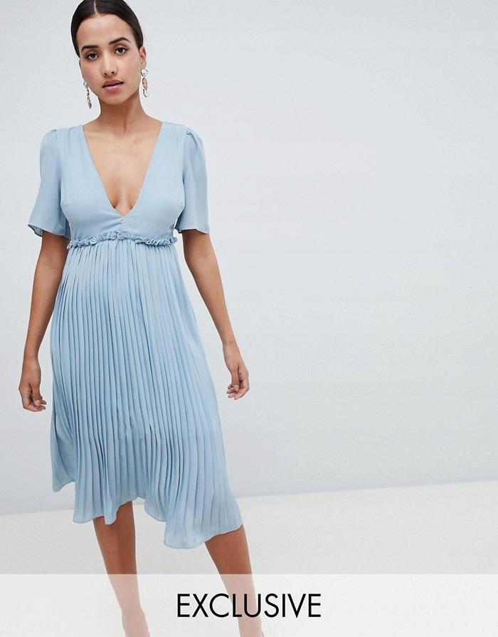 BOOHOO Niebieska plisowana sukienka (40)