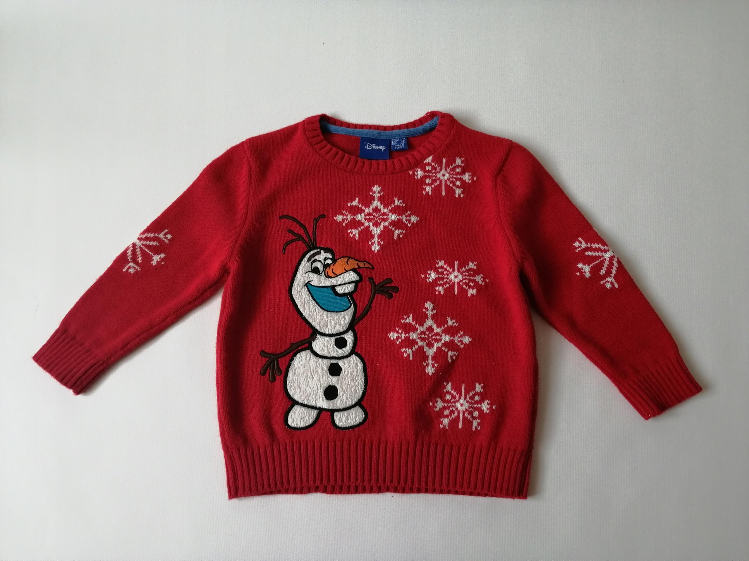 DISNEY Rebel ciepły sweterek OLAF Kraina Lodu 3-4L