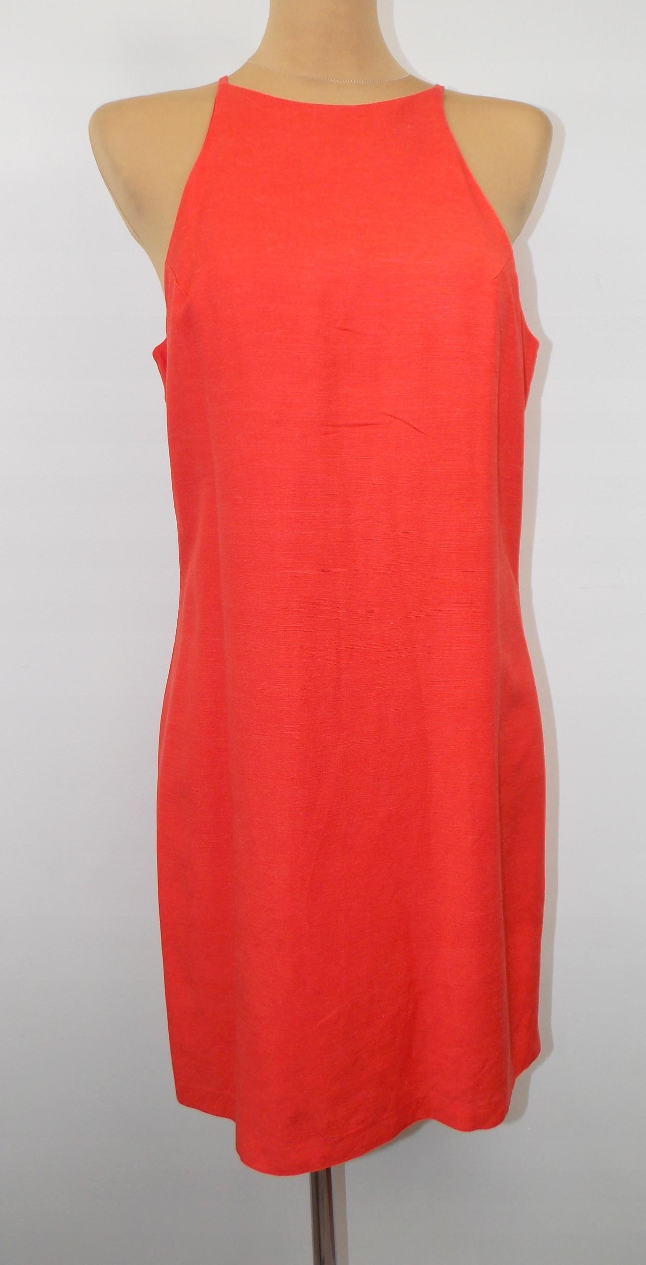 sukienka NEXT j ZARA koralowa elegancka WESELE 40