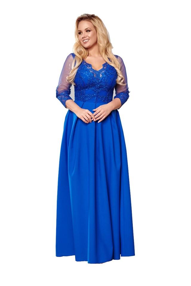 Chabrowa sukienka maxi wesele z koronką Bicoton