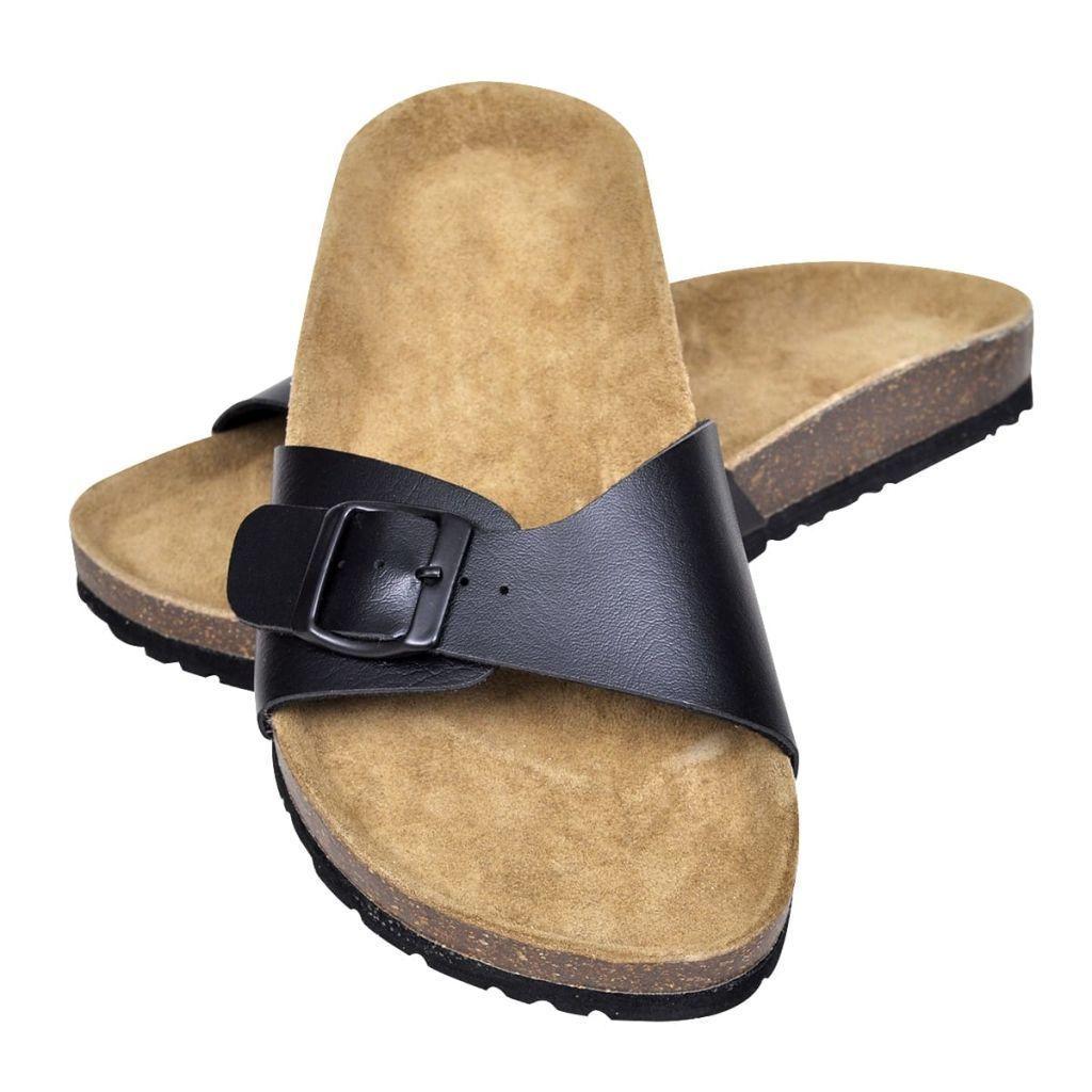 Czarne sandały z korkową podeszwą i 1 paskiem rozm