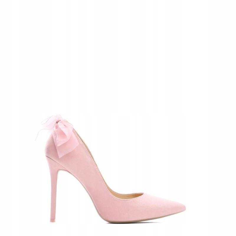 Szpilki VICES 5086-20 - różowe kokardki roz. 37