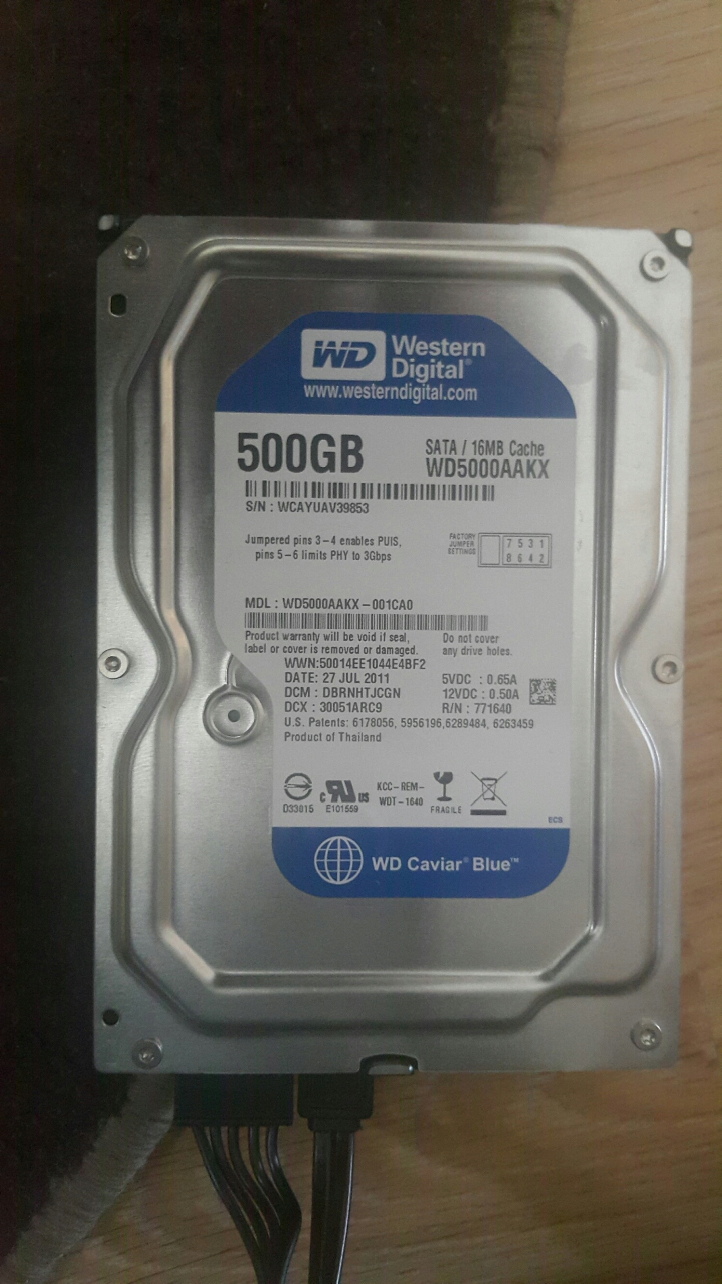 Dysk WD Western Digital 500 BLUE GB 3,5 WD5000AAKX