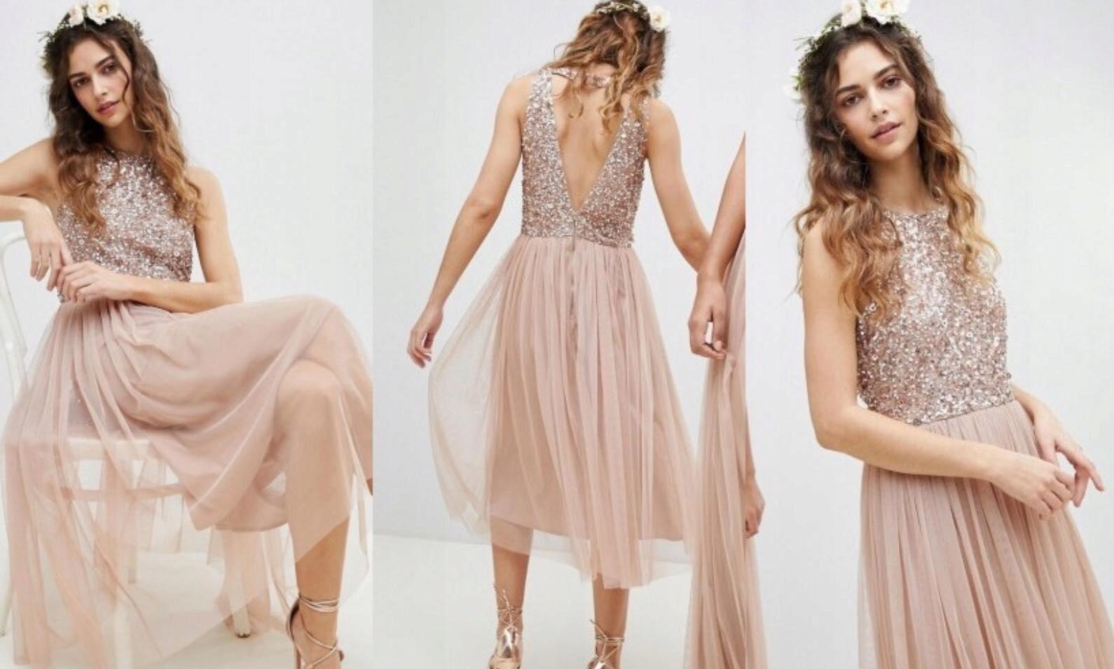 MAYA nude midi sukienka zdobiona tiul cekiny 42 XL