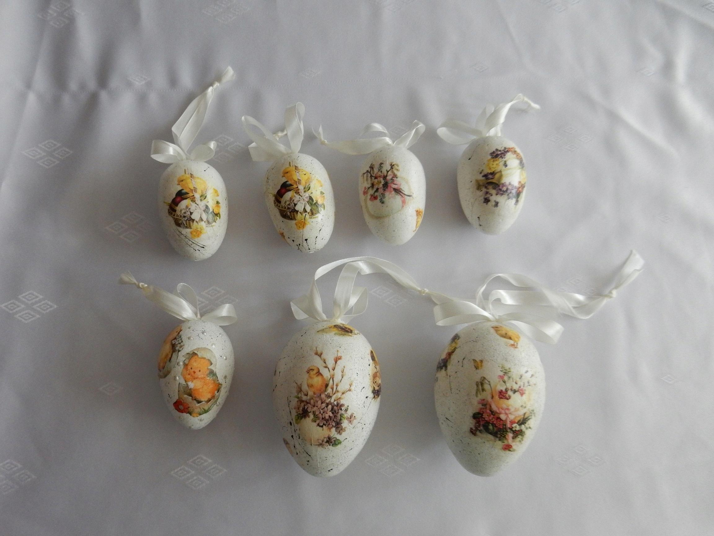 Jajka wielkanocne styropianowe, ręcznie wykonane