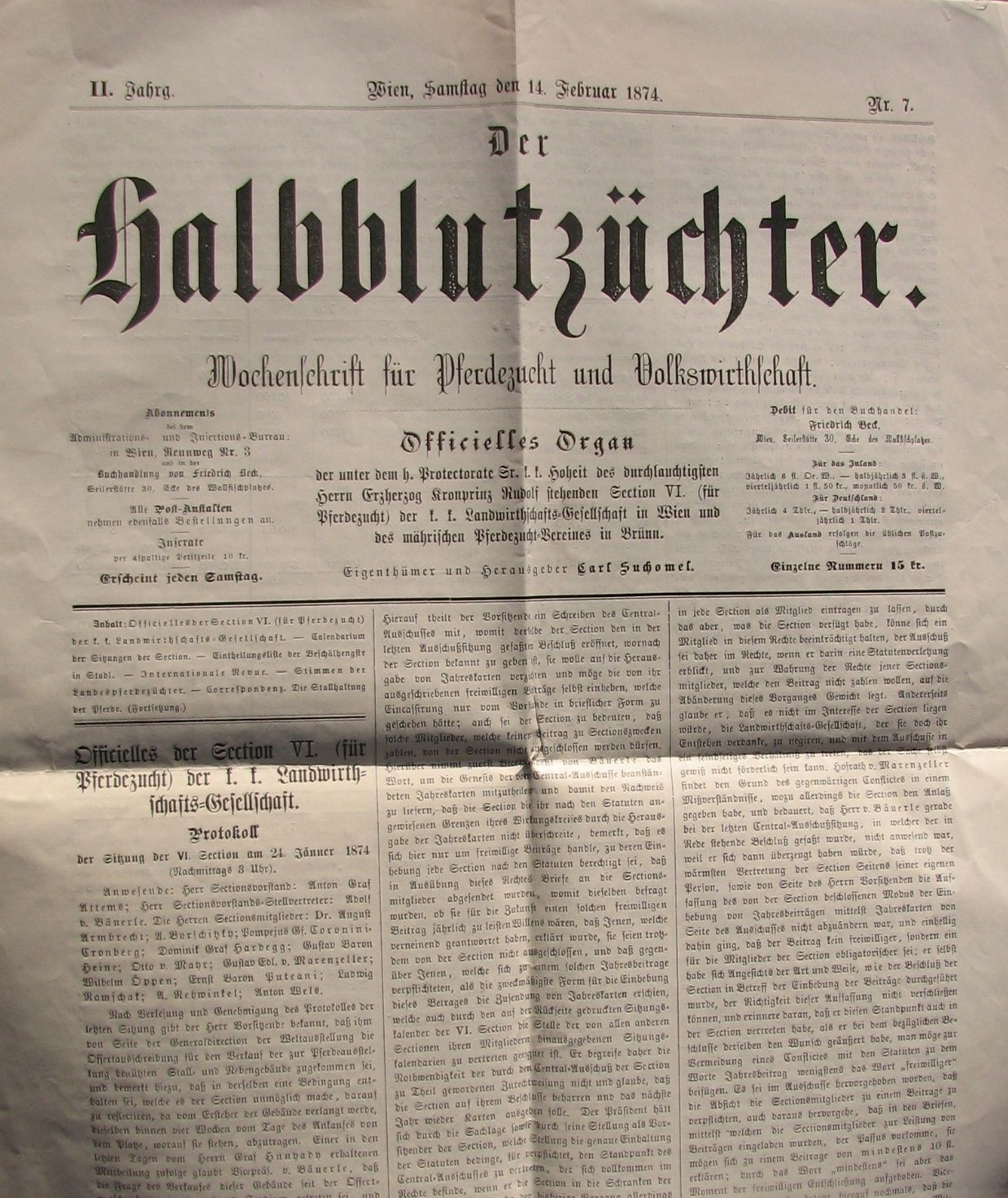 DER HALBBLUTZUCHTER - 1874 Nr 7