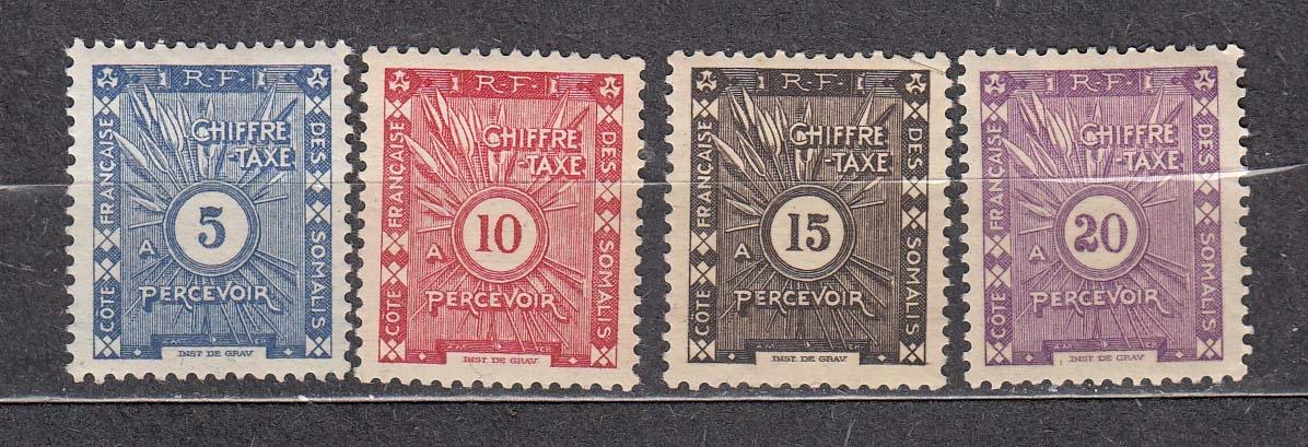 kol.franc. SOMALIA Mi 1-4 dopłaty z 1915 czyste