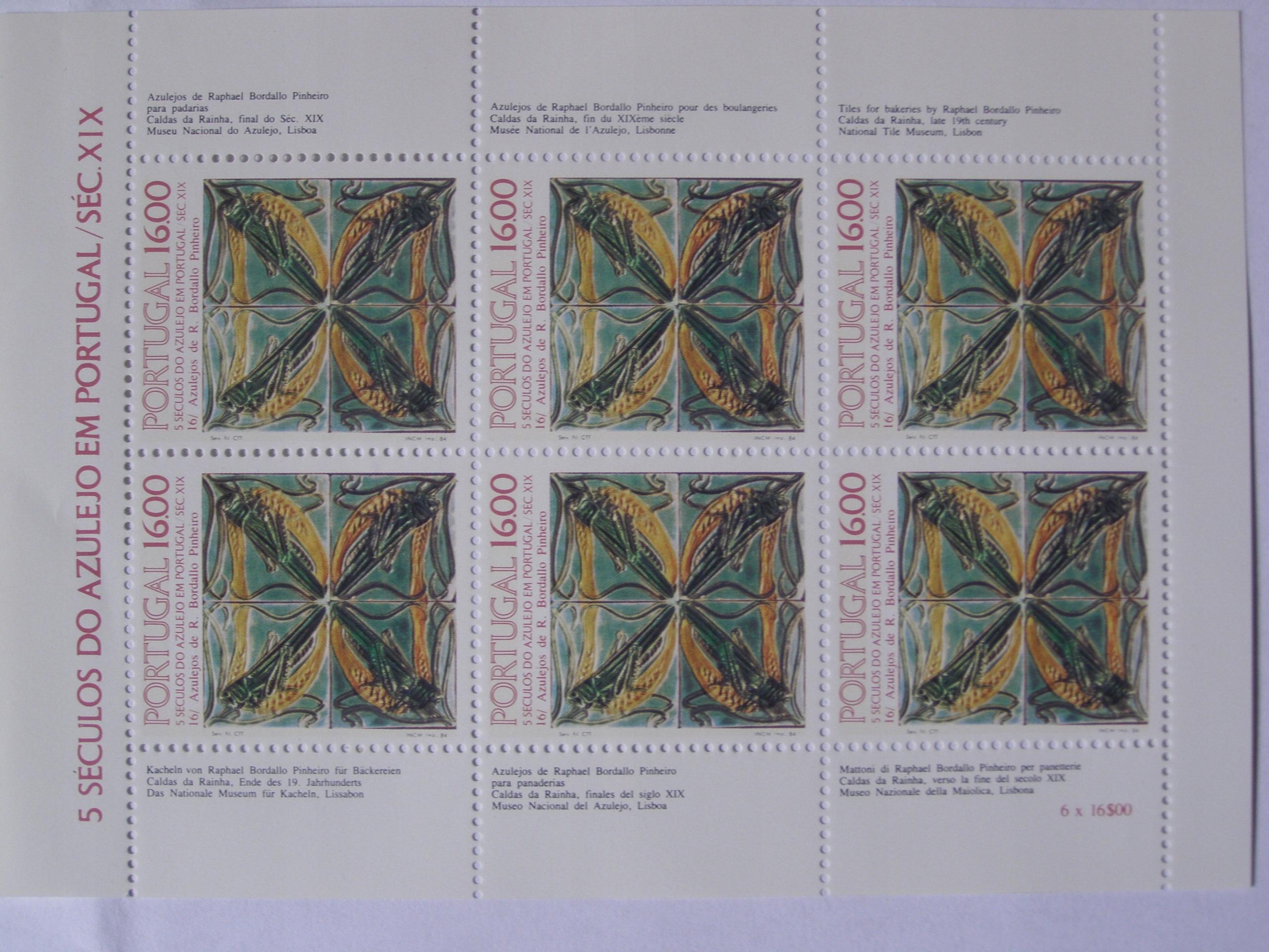 Portugalia - 500 lat Azulejos - Mi. bl.46 **