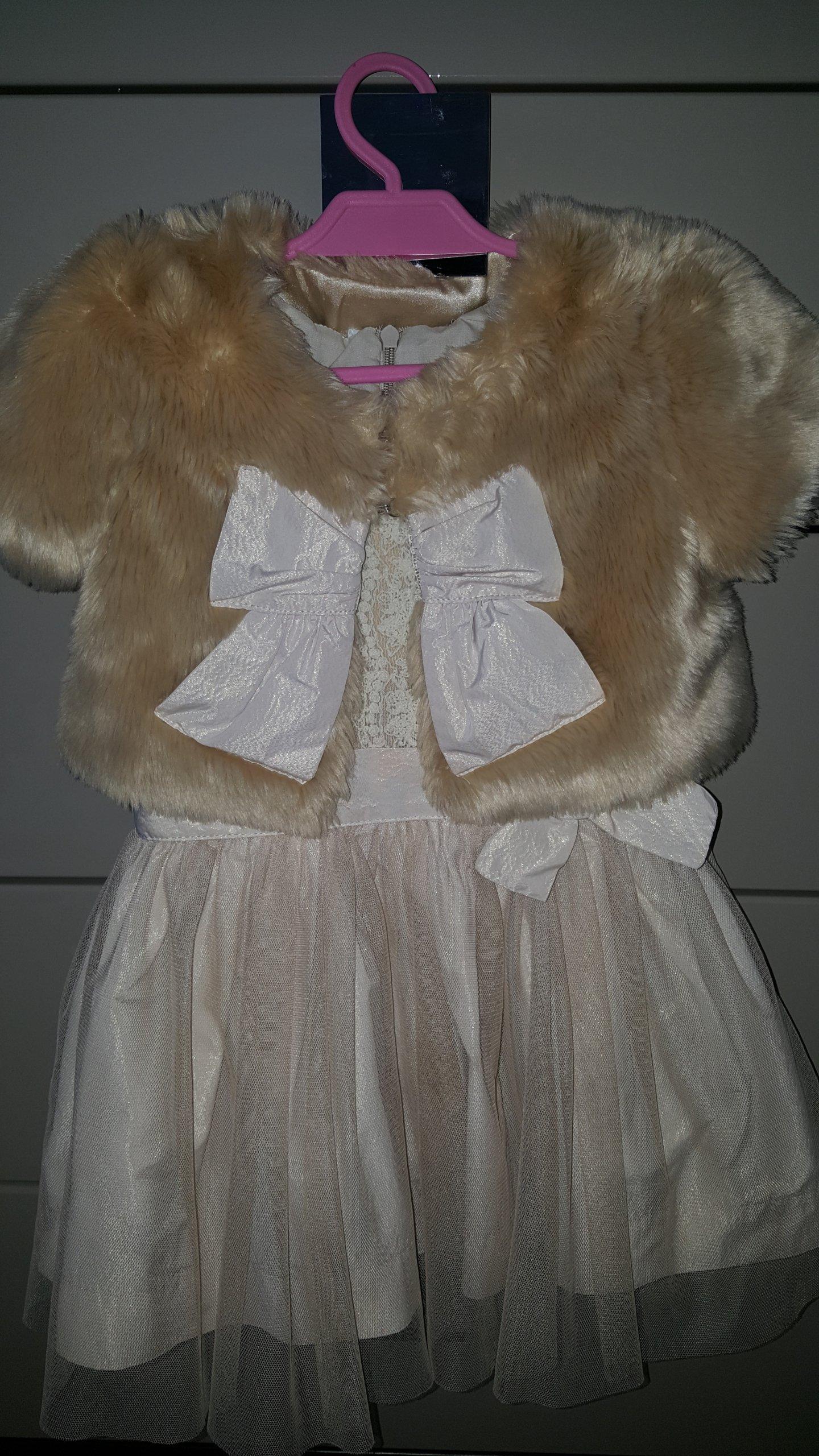 WÓJCIK złota sukienka plus futerko bolerko 98