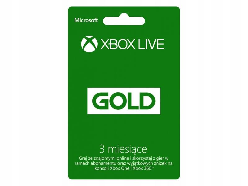 KOD KLUCZ XBOX LIVE GOLD 3 MIESIĄCE 3M