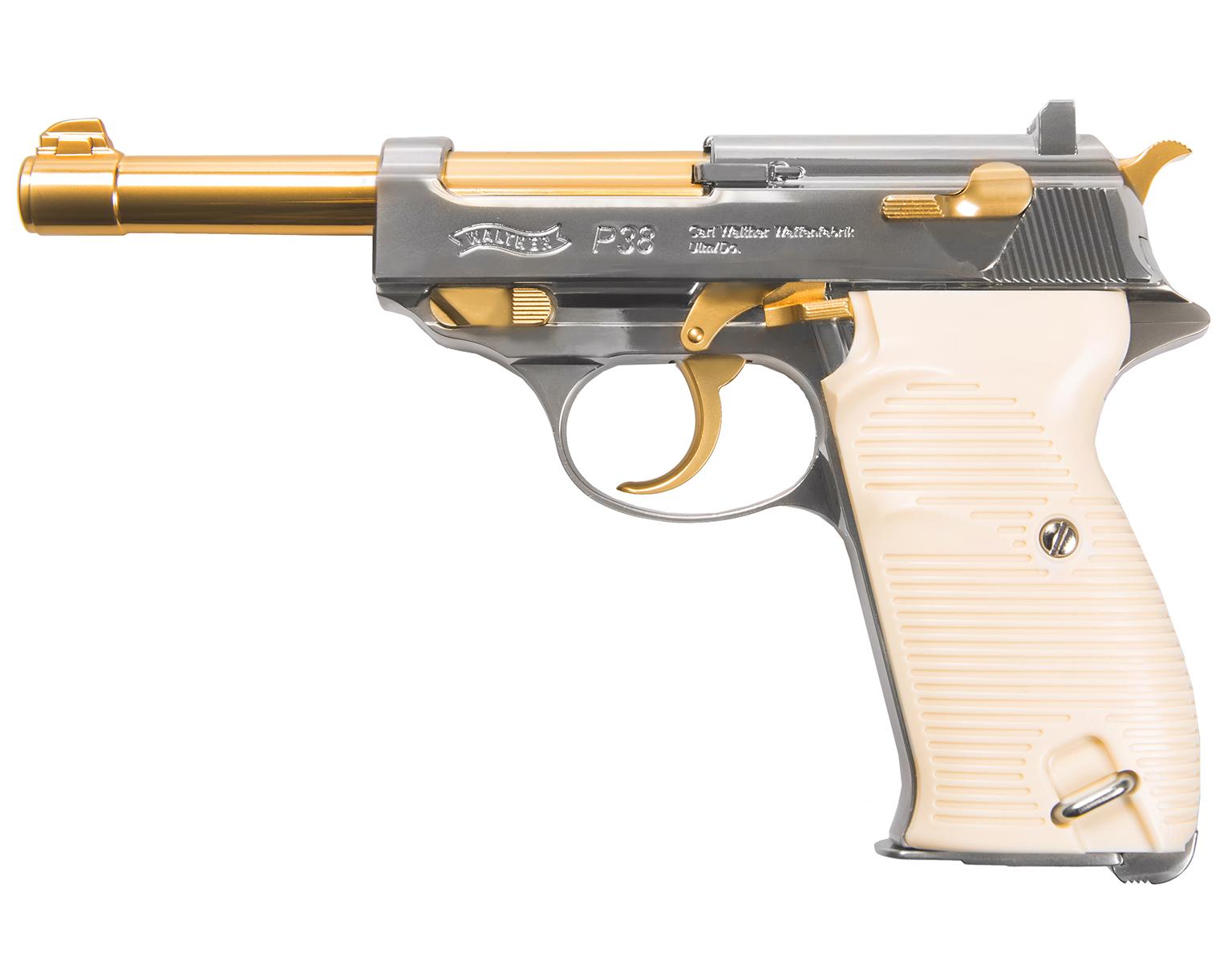 Wiatrówka Pistolet Walther P38 Gold ZESTAW BB+CO2