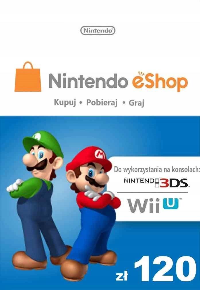 Nintendo 120 zł eShop Karta Kod Prepaid Klucz Wii
