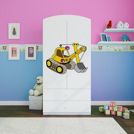Szafa 2 drzwiowa z szufladami grafika KOPARKA