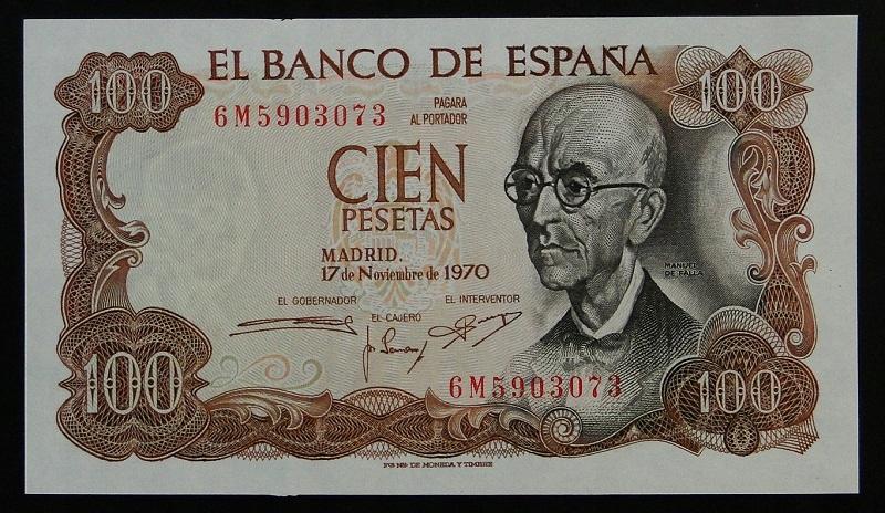 1970 Hiszpania Manuel de Falla 100 pesetas