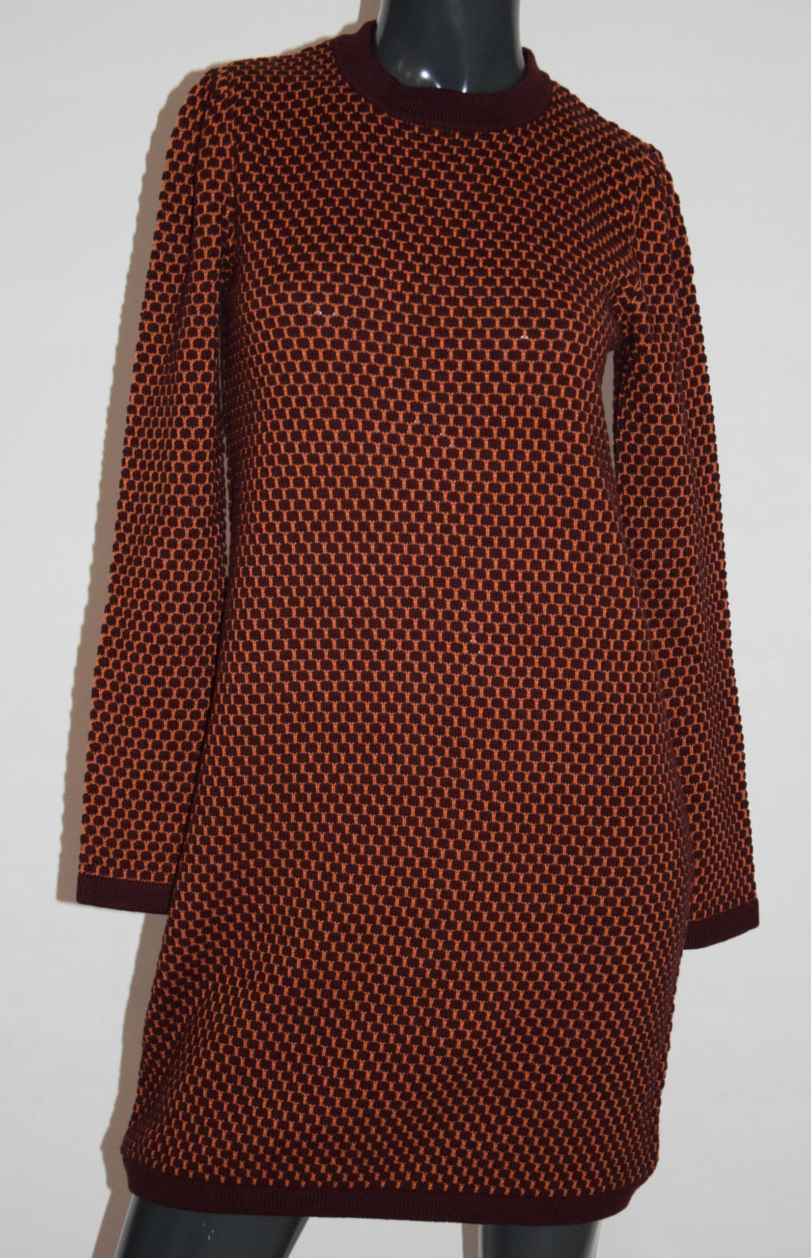 cos bordowa sukienka dzianina bawełna bufki XS/S