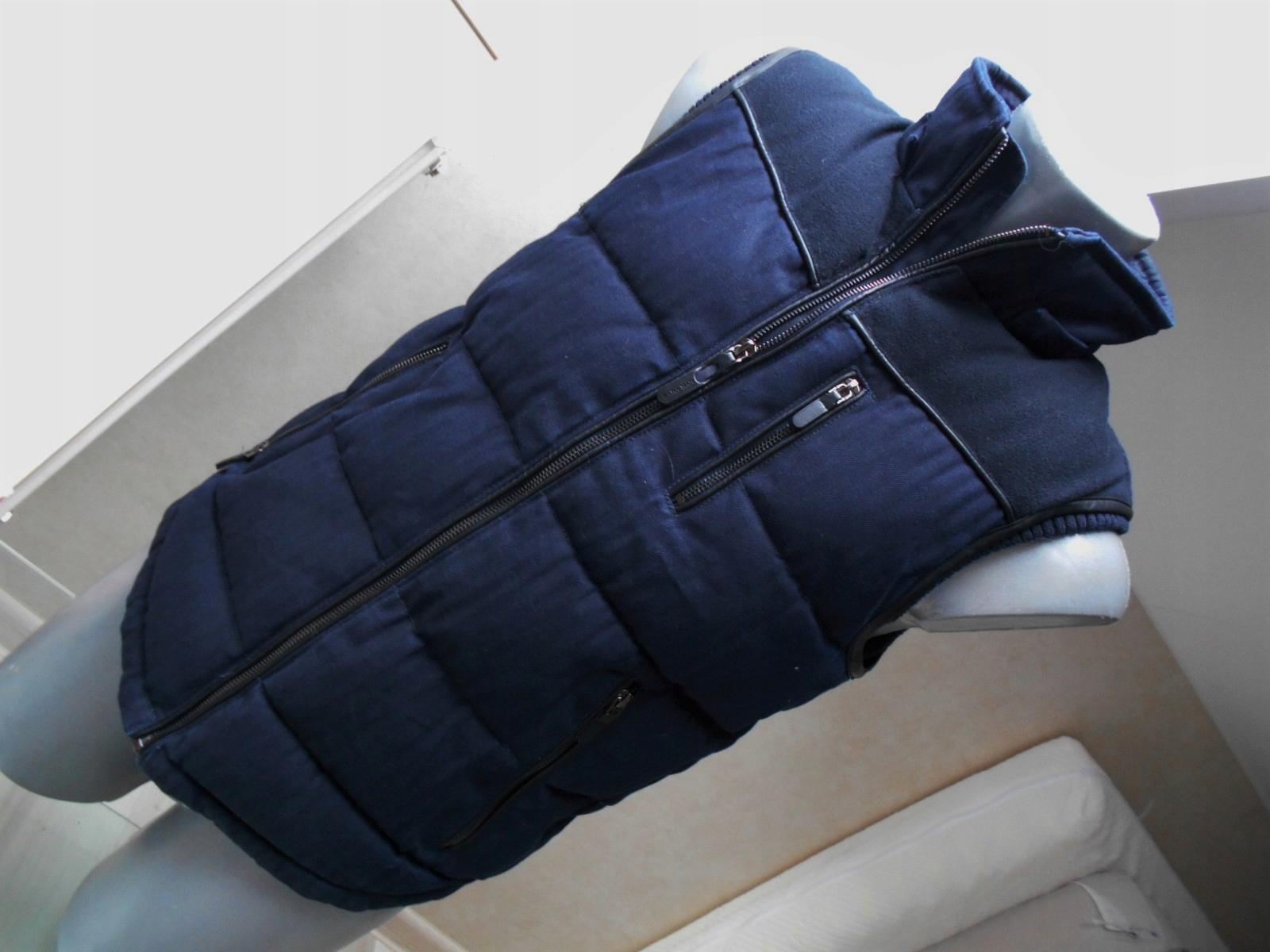 ZARA Kamizelka jeans pikowana baweł.+skóra S/189zł