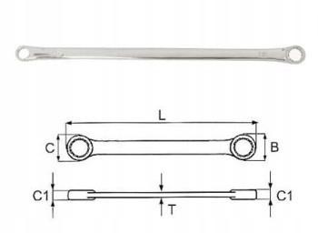 Klucz oczkowy 14x17mm dwustronny wydłużony W611417