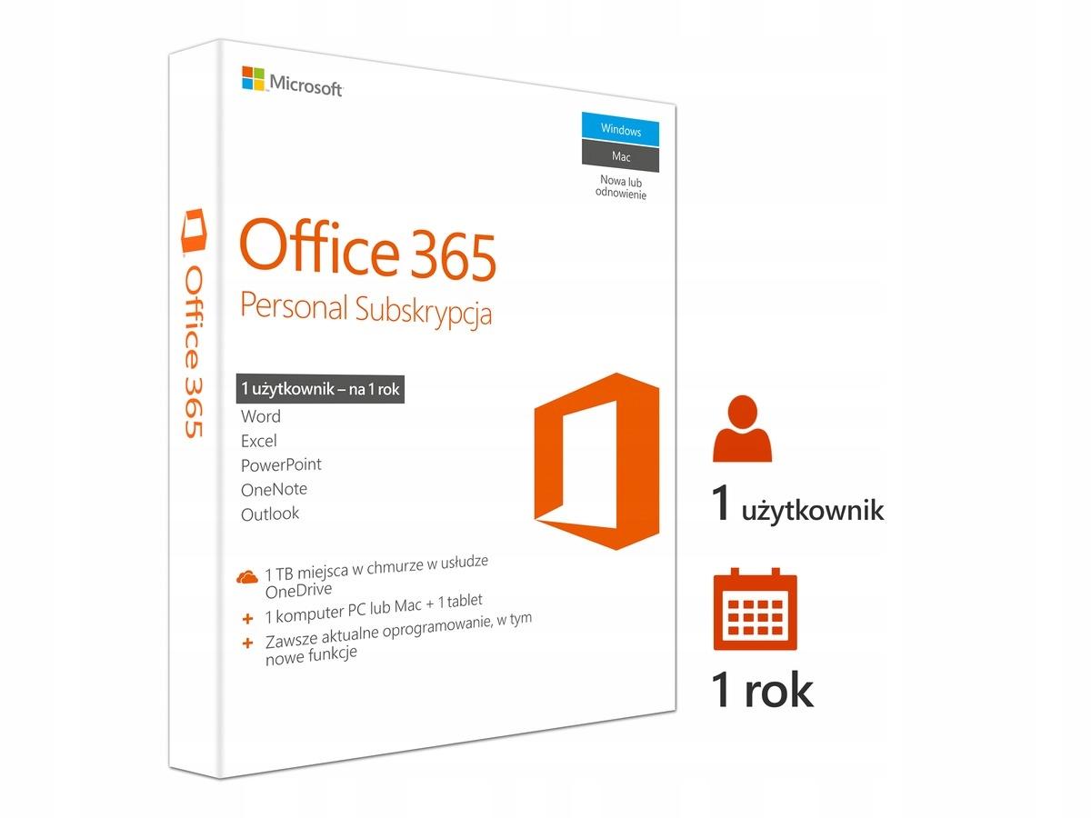 Office 365 Personal 32/64 Bit PL 1 rok Windows MAC