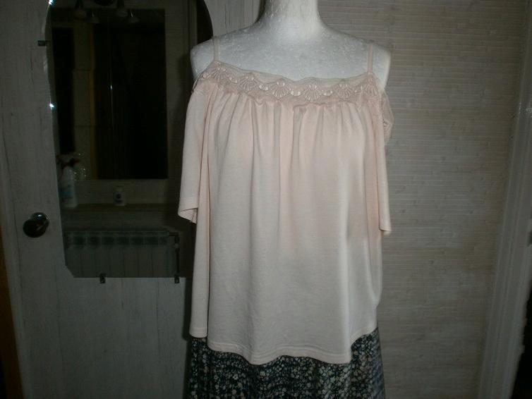 nowaNEW LOOK fajna bluzka pudrowy róż koronka s/m