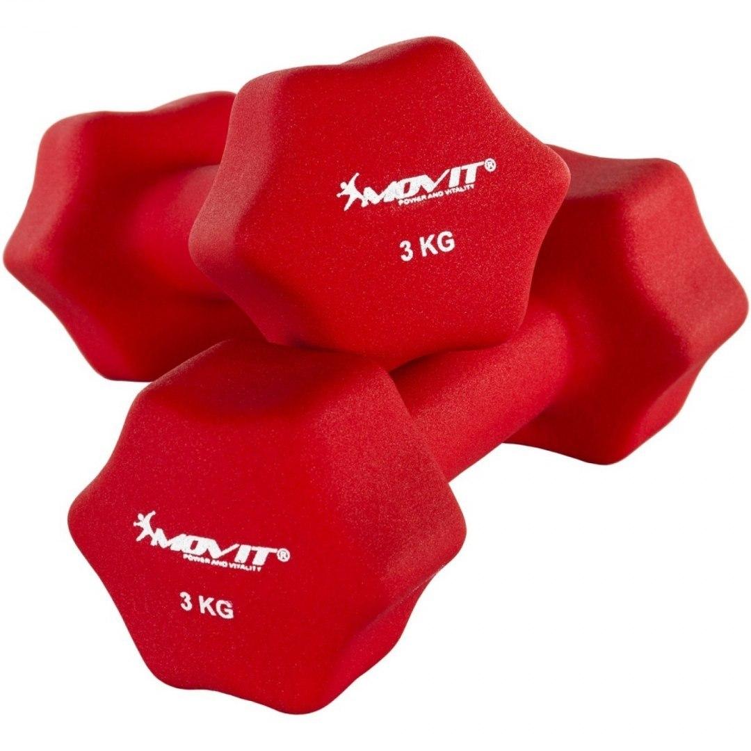 Czerwone hantle neoprenowe 2 x 3 kg MOVIT