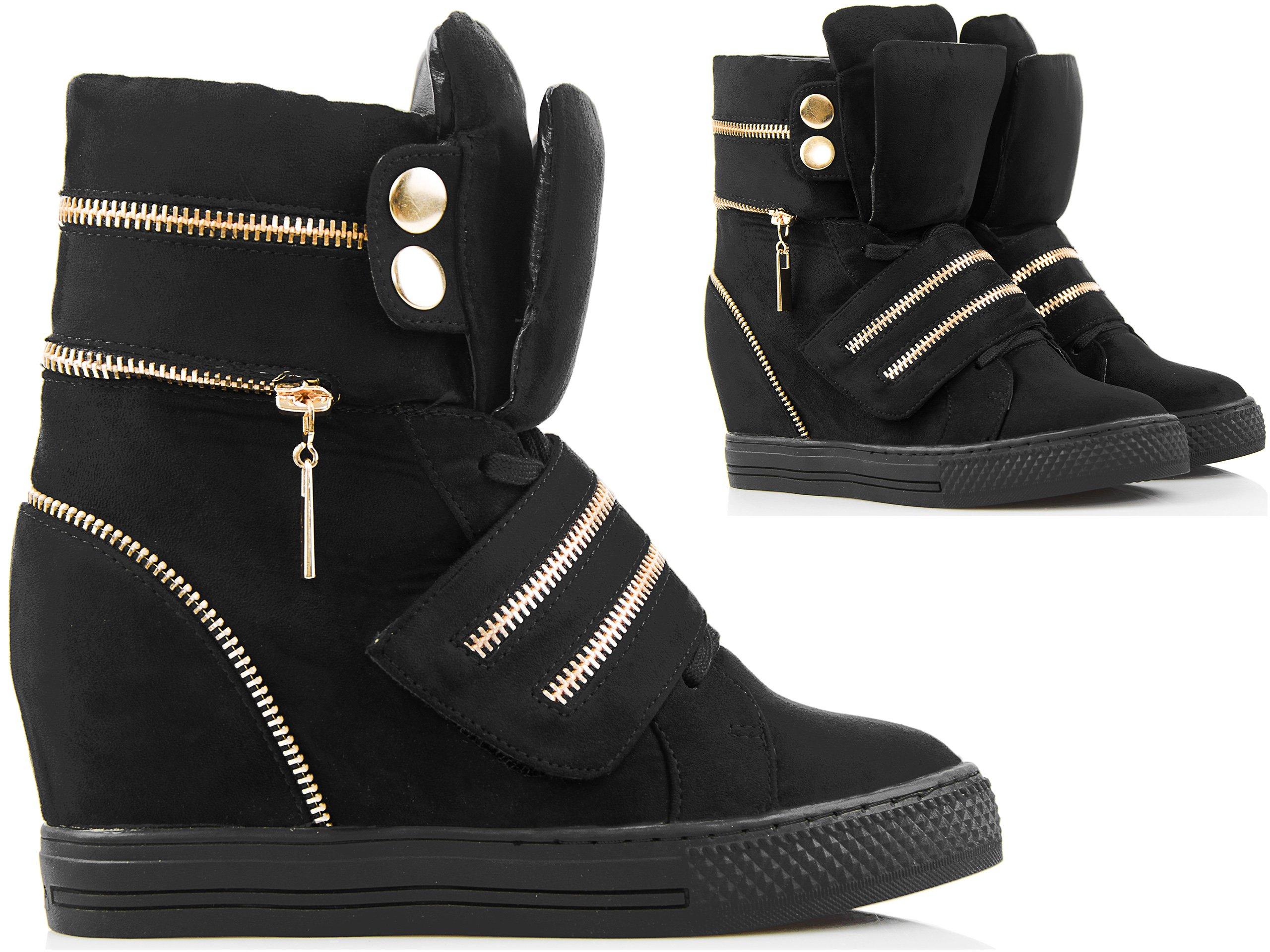 93a996cd65571d Czarne Sneakersy - Złote Zamki - Zamszowe Botki 40 - 7223846444 ...