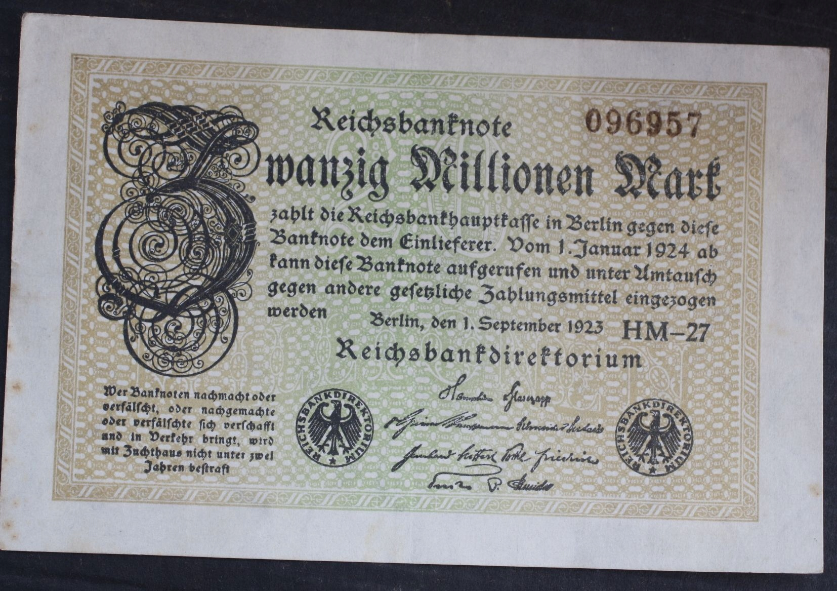 #20Millionen mark 1923 Ros.107 F ... od 3,99
