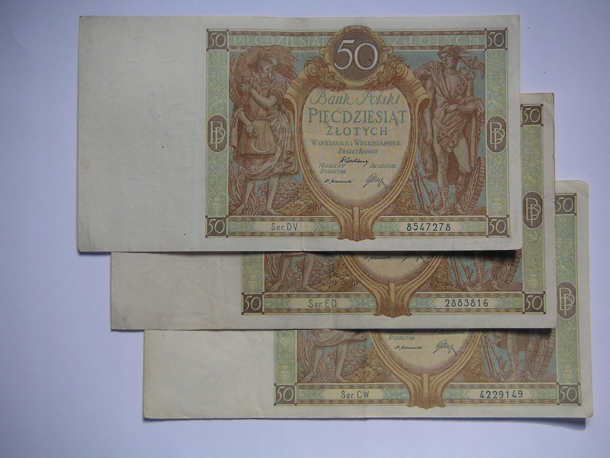 zestaw 3 x 50 złotych z 1929 r.